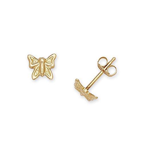 14ct Geel Goud Kleine Vlinder Stempelen voor jongens of meisjes Oorbellen - Maatregelen 5x6mm