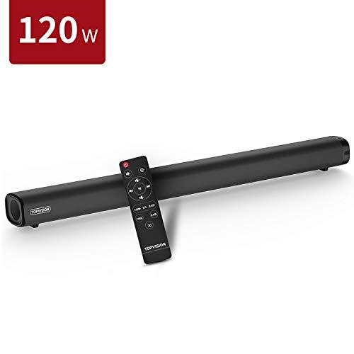 120W Soundbar für TV Geräte, TOPVISION 2.1 Kanal Surround-Sound Lautsprecher Bluetooth 5.0 mit Stereo Subwoofer Bass DSP für TV (mit HDMI,AUX,USB,Optischer Anschluss) Heimkino/Computer/Laptop/Handy