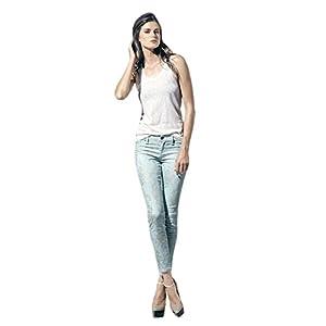 Women's Twill Light Blue Floral Print Skinny Premium Jeans