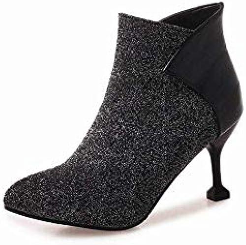 ZHRUI Damenschuhe - Herbst und und und Winter High Heel Stiefel Einzelne Stiefel Stiletto Kurze Stiefel Damenstiefel   34-43 (Farbe   Silber, Größe   42)  verkaufen sich wie warme Semmeln