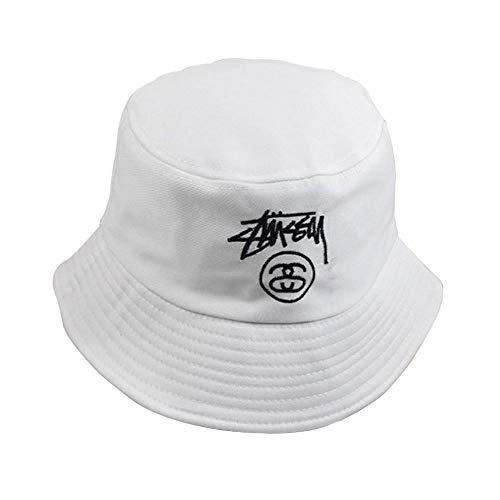 Saisma Simple Pescador del Casquillo del Sombrero Mujer Diseño Versión Coreana De Hombres Y Mujeres Parejas Hipster Sombrero Bordado Sol De La Letra Gorra De Pescador Plegable (Color : White)