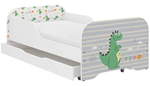 iGlobal Miki - Cama infantil con somier y colchón, un cajón para debajo de la cama con ruedas, protección anticaídas, 70 x 140 cm, 80 x 160 cm (140 x 70 cm, dino)