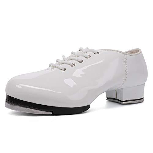VCIXXVCE Zapatos de Claqué para Hombre Zapatos de Baile de Claqué con Suela Dividida con Cordones Jazz,Blanco,42 EU