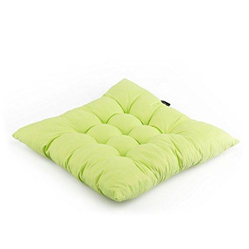 diMio Polster Stuhlkissen Sitzkissen -Cloudy- in natürlichen Farben 38x38x6cm (4er Pack, Maigrün)