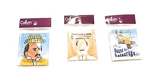 Calvin- Set di 3 preservativi umoristici - Scrizioni: stasera concluso, in iune ore..., quando ti bacia.