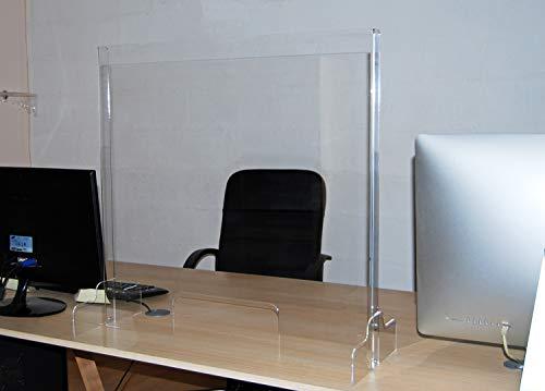 Slato pannello separatore da banco in plexiglass, parafiato cm.75x75