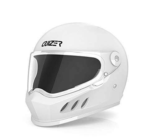 CRUIZER Motorradhelm Integralhelm für Damen und Herren, weiß glänzend, mit klarem Visier, innen abnehmbar und waschbar, Kinnriemen (XS)