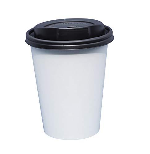 Gastro-Bedarf-Gutheil 100 Kaffeebecher Einwegbecher Pappbecher weiss Becher Coffee to go 0,3 mit Deckel Ideal für Coffee Latte Machiato Cappuccino Chocolate Tea Cream
