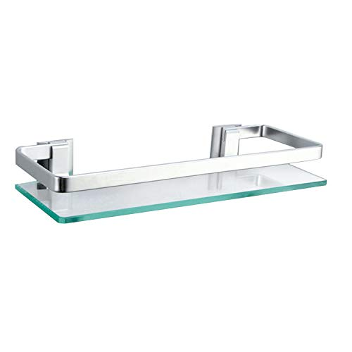 Alicemall Estanteria Baño de 350 x 120 mm Cristal Aluminio Estante Templado Vidrio Extra Grueso esmerilado Rectangular de Pared con Barandilla Aluminio