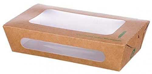 bio3 Envases Desechables con Ventana Comida para Llevar 100% Biodegradable y Compostable, Envase Take Away, 20x12x5cm, Paquete 25 Piezas, Capacidad 1200ml