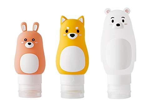Perfecbuty 3PCS Animal Adorable Rellenable/Compresible Prueba de Fugas Kit de Silicona Viaje Portátiles, FDA Certified BPA Free, para Champú, Crema de Baño, Loción, Y Otros líquidos, etc.