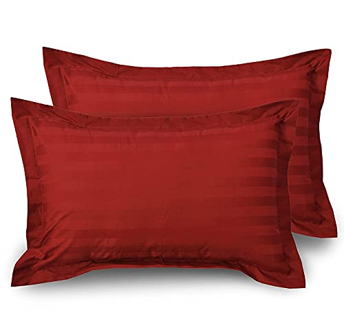 JY Pillow Cover 80% Cotton, 300 Thread Count, Soft, Smooth and Wrinkle Free- Maroon – 18X27 Size Pack of 2