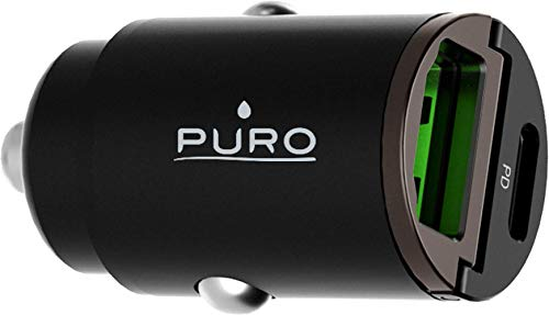 Puro - Cargador doble para coche (USB A+C, 30 W), color negro