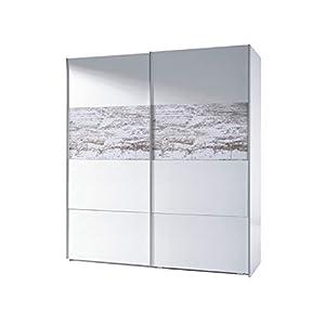 Habitdesign ARC181BO - Armario corredera Vintage, Acabado Blanco Brillo y Decapé, Medidas: 180 cm (Ancho) x 200 cm (Alto) x 61 cm (Fondo)