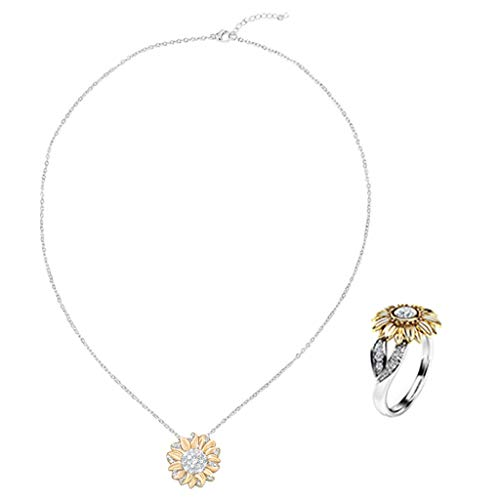 Sayhi Women's Two Tone Silver Floral Ring +Floral Necklace Round Diamond Gold Sunflower Jewelry Anniversary Rings (E,9)