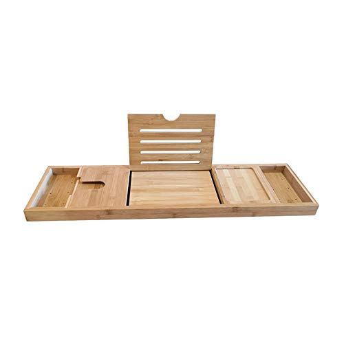 SHUWB Nature Gear Wood Bamboo Luxury Bath Caddy For Your Book, With Wine And Book Holder And Free Soap Dish, Bamboo Waterproof Expandable Bath Table Over Tub