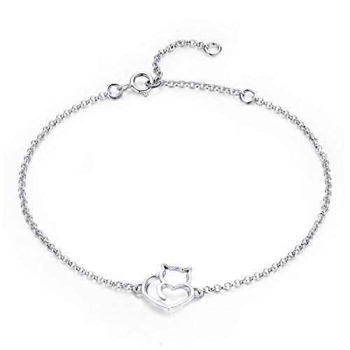 NewL Damen-Armband und Armreif aus 925er-Sterlingsilber mit Katzen- und Herz-Gliedern, authentischer Silberschmuck, Geschenk