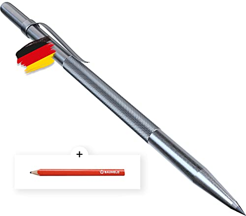 BAUHELD® Anreissnadel Metall [150mm] - Reißnadel mit eingelöteter Hartmetall-Spitze [Made in Germany] - Praktischer Befestigungsclip und Vernickelt mit Rändelung - Inkl. GRATIS Tischler-Bleistift