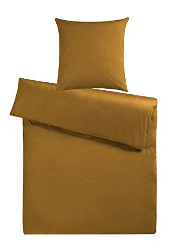 Carpe Sonno Moderne Mako-Satin Bettwäsche 135 x 200 cm günstig einfarbig Senf Gold Uni in feiner Hotelqualität aus 100% Baumwolle – Mako Satin Decken-Bezug Set mit Kopfkissenbezug