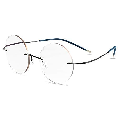 Hombres y mujeres Gafas de lectura inteligentes que cambian de color Aleación de titanio Gafas de sol redondas de transición fotocromática sin marco Uv400