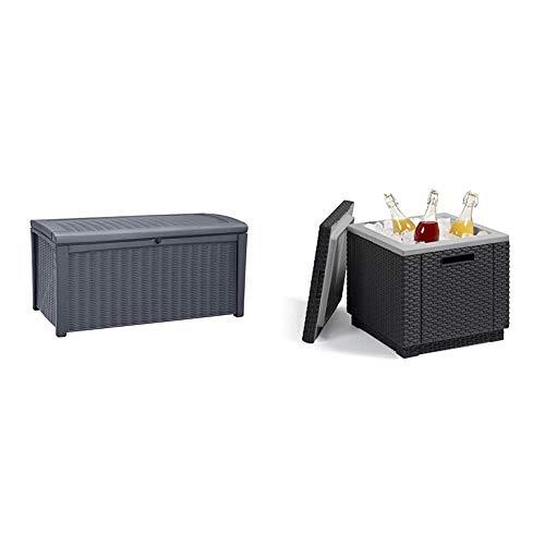 "Keter Kissenbox Borneo, Anthrazit, 400L aus hochwertigem Polypropylen Aufbewahrungsbox 129,5 cm x 70 cm x 62,5 cm (BxTxH) & \""Allibert by Keter\"" Beistelltisch Ice Cube, Kühlbox, Deckel abnehmbar"