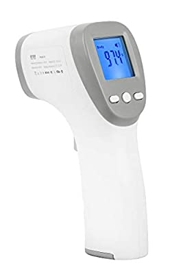 Infrared Forehead Thermometer, High Precision Non-Contact Instant Reading Digital Thermometer with Fever Alarm, LCD Display Thermometer for Baby Kids and Adults Surface of Objects,Grey
