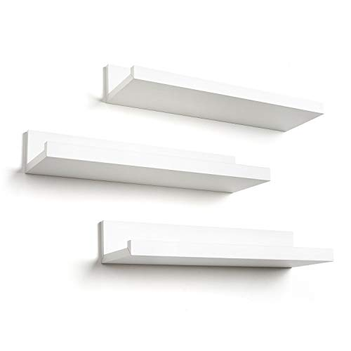 Americanflat 14 Inch Floating Shelves Set of 3 in White Composite Wood - Wall Mounted Storage Shelves for Bedroom, Living Room, Bathroom, Kitchen, Office and More