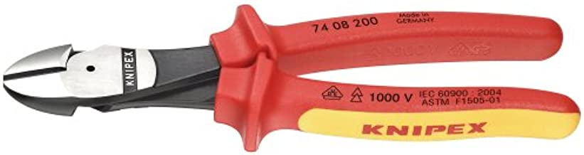 KNIPEX Ferramentas – cortadores diagonais de alta alavancagem, isolamento de 1000 V (7408200SBA)