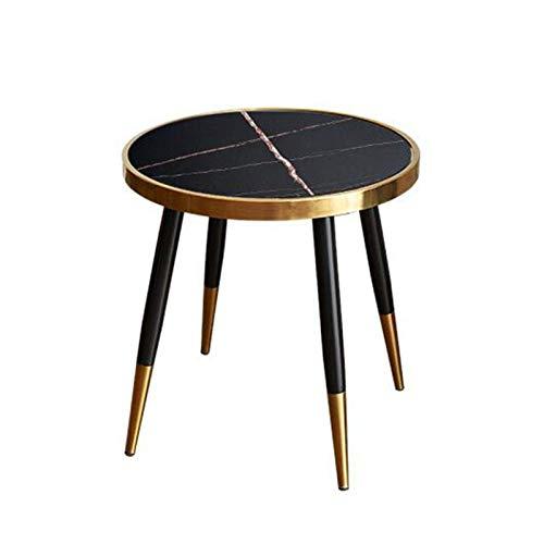 Mesa de cama, Mesas de estilo italiano de estilo ligero de lujo, patas de soporte de acero inoxidable, mesa de café de oro pequeña, sofá de pizarra Mesa de café de mesa Color: Negro, Tamaño: 17.7117.7