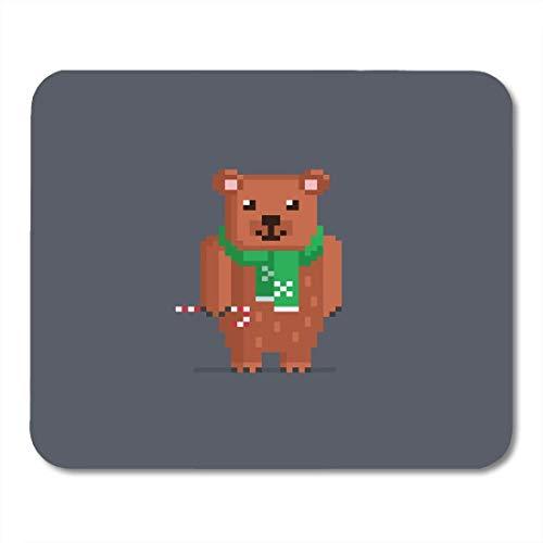 Mauspads 16Bit Bit Pixel Niedlicher Braunbär Weihnachtsbonbon Mauspad für Notebooks, Desktop-Computer Mausmatten, Büromaterial