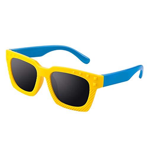 GQUEEN GQUEEN Gummi Flexible Kinder Rechteckige Polarisierte Sonnenbrille für Jungen Mädchen Baby und Kinder Alter 2-10,ET18