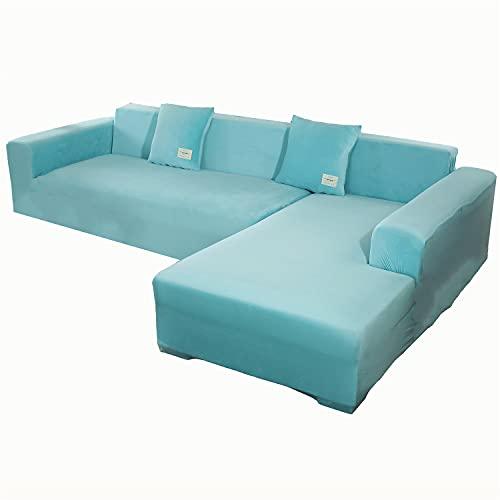Funda de sofá en forma de L de terciopelo elástico, funda de sofá seccional, antideslizante, funda de sillón esquinero, protector de muebles de chaise Lounge (azul claro, 4 plazas y 2 plazas)