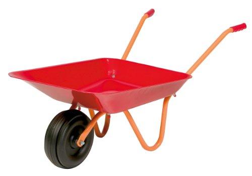 Hörby Bruk 1187 kinderkruiwagen (kruiwagen met stalen bak, rubberen handgrepen, kunststof wiel max. 20 kg, 75 x 38 x 28 cm), rood.