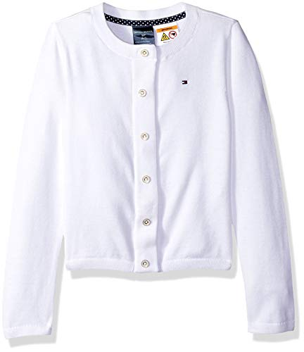 Tommy Hilfiger Adaptive Girls' Big Cardigan with Magnetic Buttons, Classic White, Small