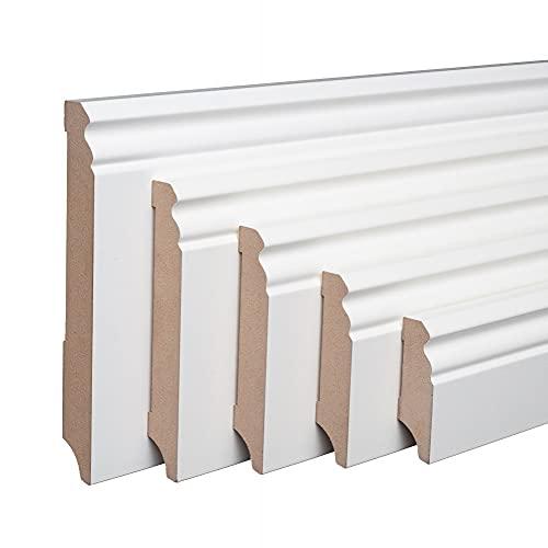 Weiße Sockelleisten Alt-Berliner Profil MDF Folie 60/80/100/120mm [SPARPAKET] Höhe 80mm, Stück(lfm) 40 Stück / 88lfm