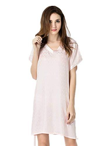 Lente en zomer 100% zijderups zijden pyjama Dames korte mouwen V-hals Diamantpatroon Nachtrok Thuis Service