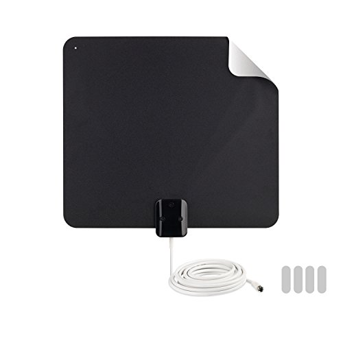 of rca antenna for smart tvs RCA Indoor TV Antenna TV Digital HD - Thin Film Indoor Antenna with Reversible Multi-Directional HDTV VHF + UHF Reception 45 Mile Range from Black (AZON008), Black