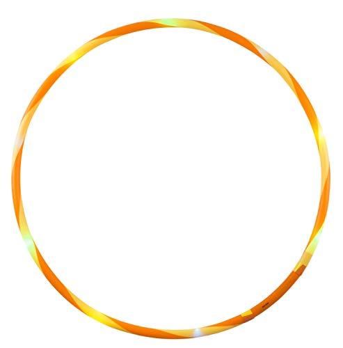 alldoro-Flames N Games-Aro de Hoop (72 cm, 11 ledes, para Deportes, Fitness y Gimnasia, para niños a Partir de 4 años y Adultos), Color Amarillo y Naranja, Ø (Manfred Roser 63007)