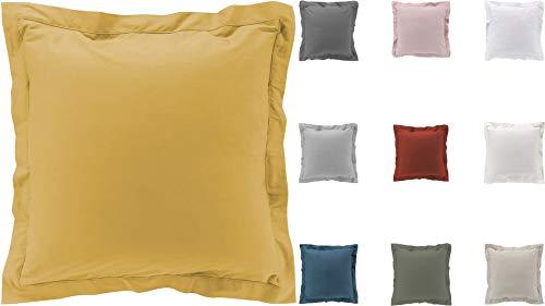 2 fundas de almohada de percal 100 % algodón, 10 colores diferentes, 63 x 63 cm, 50 x 70 cm (amarillo, 63 x 63 cm)
