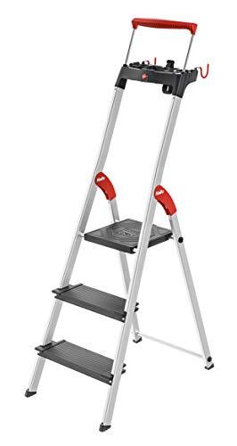 Hailo L100 TopLine, Alu-Sicherheits-Stehleiter, mit Multifunktions-Schale, ausziehbarer Sicherheits-Haltebügel, 3 Stufen, Plattformverriegelung und XXL Stufen, schwarz, Made in Germany, 8050-307