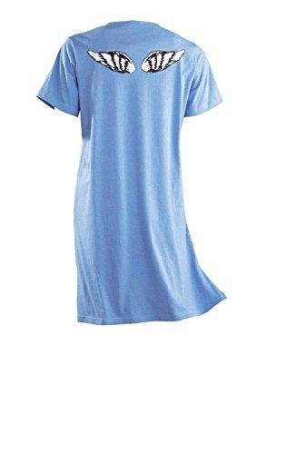 AdoniaMode Damen Nachthemd Nacht-Kleid Sleepshirt Bigshirt Rundhals Kurz-Arm Angel Blau Gr.36/38