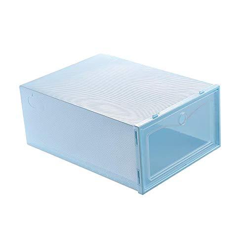 Fenteer Cajas de Almacenamiento de Zapatos, Gavetas Organizadoras de Zapatos Apilables de Plástico Transparente, Contenedores de Zapatero con Apertura Frontal - Azul, Individual