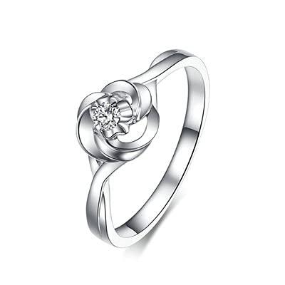 Bishilin Platino 950, Nudo Hueco 0.04ct Diamante Anillo de A