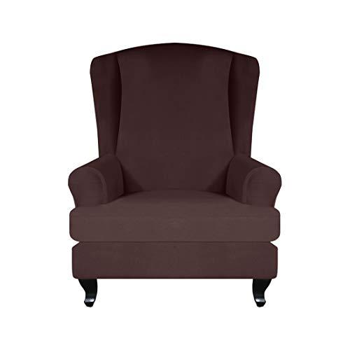 Renhe 2 Stück Sesselbezug Stretch Wingback Schonbezüge mit Kissenbezug Sofabezug Möbelschutz Home Decor Coffee