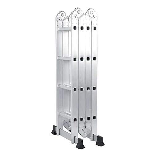 kengbi Escalera compacta Multiuso Escalera Plegable de Aluminio Ajustable multifunción aleación con 2 Paneles de Home Almacén