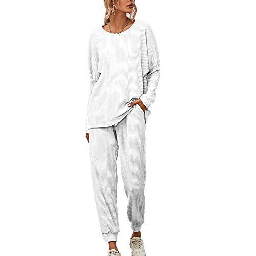 Hiser Damen Pyjama Set, Schlafanzüge Outfit Set Lange Ärmel Bluse + Hosen, Nachtwäsche Homewear, Weich Bequem und Schön Langarm Hausanzug (Weiß,XL)