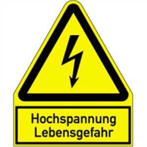 Aufkleber Warnschild Hochspannung Lebensgefahr 12,2 x 10cm sl Folie