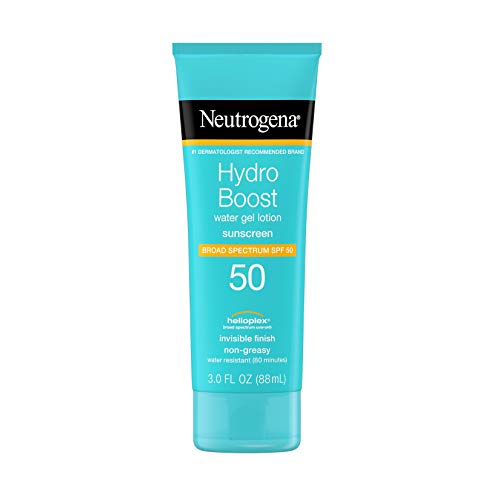 Neutrogena Hydro Boost Water Gel Non-Greasy Moisturizing Sunscreen Lotion with Broad Spectrum SPF 50, Water-Resistant Hydrating Sunscreen Lotion, 3 fl. Oz (Pack of 3)