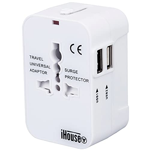 iHouse all 海外変換プラグ 海外コンセント 2USBポート全世界対応 旅行充電器 A/O/BF/Cタイプ電源変換プラグ 100-240V 変換 プラグ 日本/米国/EU/英国/AU 経済産業省承認 正規保証1年