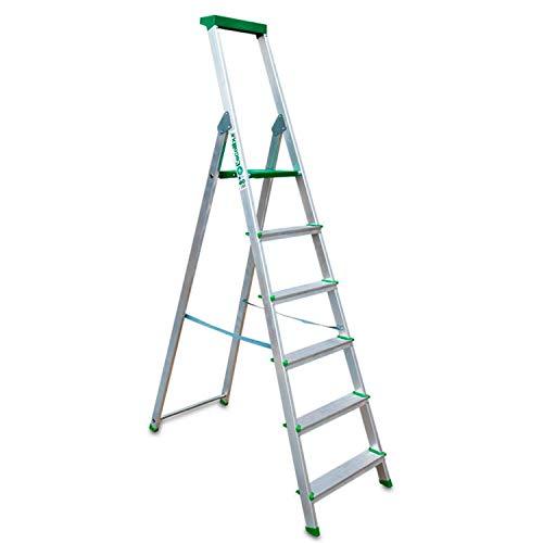 Escalibur | ES.Dom | Escalera de Aluminio | Escalera 6 Peldaños | 206x48x12 cm | Uso Doméstico | Utilizada en Trabajos de Bricolaje | Taco Antideslizante | Máxima Seguridad y Confort